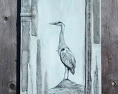 """Blue Heron II, 10"""" x 30"""", Acrylic & Mixed Media, Recycled Denim Painting on Gallery Style Canvas - Available for Custom Order"""