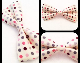 Puppy Dog Bow-tie Girly Polka Dots on Cream