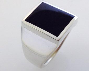 Men's Black Onyx Heavy Sterling Silver Ring