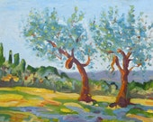 Arezzo Olive Trees an original 12 x 16 oil painting on canvas board by Yvonne Wagner. Italy. Italian. Olives. Conversation.