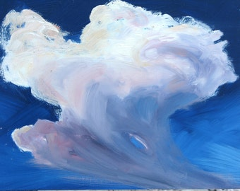 Thunder Cloud,Framed original oil painting on hardboard. Original oil. Framed. By Yvonne Wagner. Skies. Nuages. 8 x 10. Storm. Sale.