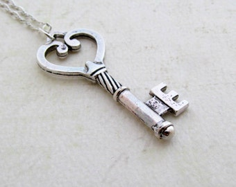 Antique Silver Key Necklace, Skeleton Key Necklace, Key Charm, Sterling Silver, Gift for Her
