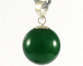 12 mm. Green Agate silver bail pendant