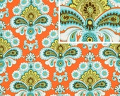 1 yard - French Wallpaper in orange from Belle collection by Amy Butler
