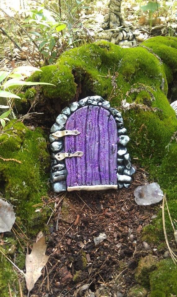 Fairy door in purple with purple glitter for Purple fairy door