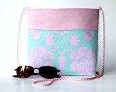 Pink and teal patterned shoulder cross body purse...2 pockets...detachable magnetic key hook...medium size lightweight cotton bag...ON SALE