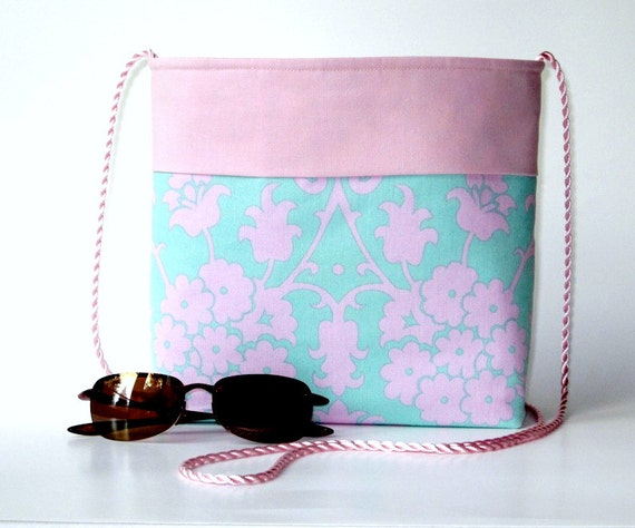 CLEARANCE SALE 50% OFF...pink and teal shoulder crossbody purse...2 slip pockets...detachable key hook...medium size lightweight vegan bag