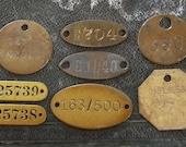 Vintage BRASS TAGS Vintage Numbered Oval 2-Hole Dog Coal Miner Locker Round Square Rectangle