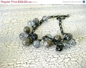 On Sale Glass Czech Beads Black Link Chain - Cumulus Clouds