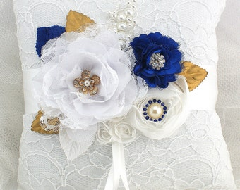 Ring Bearer Pillow, White, Gold, Royal Blue, Blue, Elegant Wedding, Lace Pillow, Pearls, Brooch, Crystals, Vintage Style, Gatsby Style,