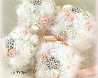 Bridesmaids Bouquets, Ivory, Blush, Cream, Brooch Bouquets, Vintage Style, Maid of Honor,Elegant Wedding,Jeweled, Brooches, Crystals, Pearls