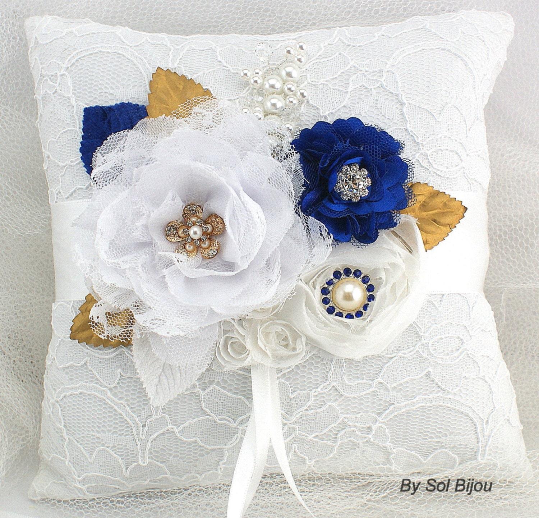 Ring Bearer Pillow White Gold Royal Blue Blue Elegant
