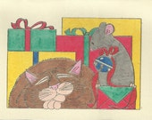 Christmas Cat and Mouse-Choice of Card or Post Card