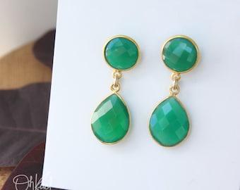 Gold Green Onyx Teardrop Earrings - Post Setting - Classic