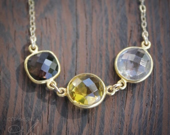 Triple Gemstone Necklace - Smokey Quartz, Citrine, Crystal - 14K Gold Fill