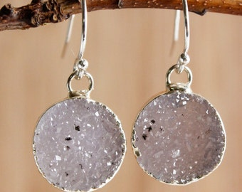 Silver Agate Druzy Quartz Earrings - Colourful Druzy - Choose Your Stones