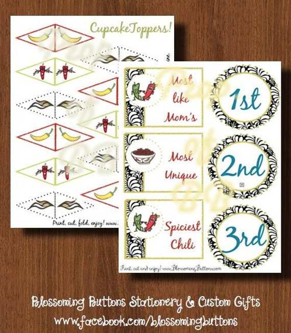 Printable Chili Cook Off Party Set by BlossomingButtons on ...