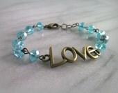 Love Bracelet, Aqua Blue, Antique Bronze, Beaded Jewelry, Womens, Gift for Her, By ktnunna
