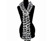 Black and White Ruffle Scarf Neck Warmer for Ladies Womens Fashion Trendy Scarves Lacy Scarf Twist Scarf Twirly Scarf by CraftCrazy4U