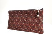 Deep Red Wine Clutch / Zippered Bag / Beaded Pull - READY TO SHIP