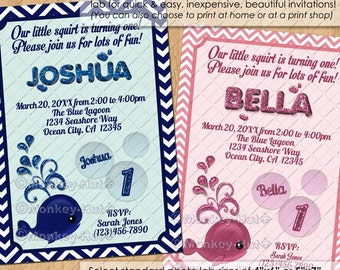 Chevron Nautical Whale Birthday Invitations / boy navy blue girl pink / little squirt ocean sea animal whales 1st 2nd / DIGITAL INVITATION