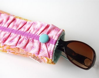 Handmade Ruffled Sunglasses Case - Sunset Floral with Pink Yellow and Turquoise
