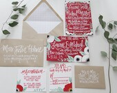 Rustic Red, White, & Kraft Paper Invitations - Painted / Hand Lettered Calligraphy - Customizable