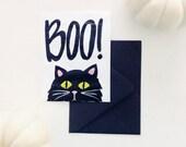 Halloween Greeting Card - Black Cat Illustration