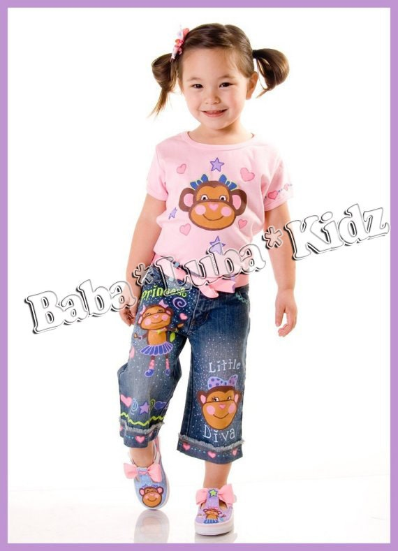 Boutique custom Monkey set shorts, jean or skirt hand painted size 12 18 24 2 3 4 5 6 7 8 9 10 ETSYKIDS