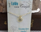 Temple Necklace - Temple charm Silver or Gold Temple Jewelry - I Love to See the Temple Young Women's gift ideas Personal Progress Primary