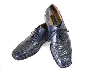 Stacy Adams Men Genuine Snake Shoes Navy Blue Dress Shoes Size 9 1/2