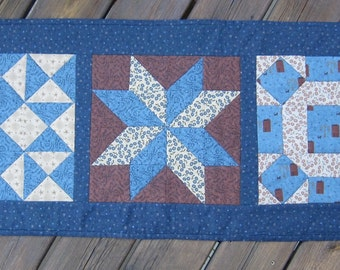 Country Blue and Rust Primitive Quilt Block Americana Table Runner