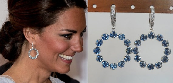 Kate Middleton Inspired Light Sapphire Crystal Hoop Earrings