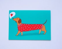 Love Heart Sausage Dog Card- Valentines Day