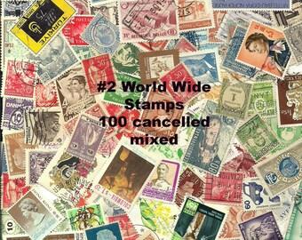 Postage Stamps used 100 Vintage World Wide Canceled Stamps worldwide post mark old stamps vintage collectible