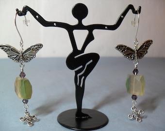 Rainbow Flourite Butterfly earrings, June 2013