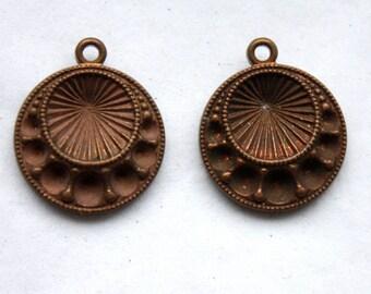 4 Vintage 1940s Antique Brass Art Nouveau Pendants // Victorian Edwardian Elegance