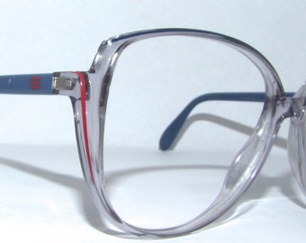 1980s Womens Eyeglasses // 80s 9os Vintage Frames // Clear and Blue // Silhouette