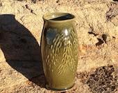 Platte Wheeler Vase - Green Firewood Glaze SPECIAL SHIPS 6.95