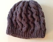 Cable Knit Charcoal Gray Slouchy Hat
