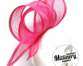 Fuschia Pink Wide Sinamay Ribbon Sash for Millinery, Hat Trimming & Fascinators