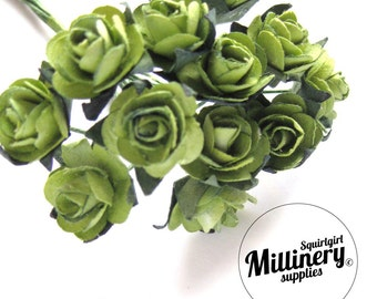 12 Green Wired Miniature Paper Roses Flower Picks for Millinery & Tiara Making