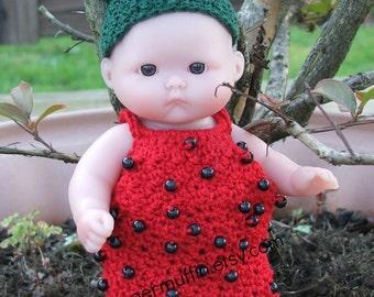 "Strawberry doll costume fits 5"" berenguer dolls"