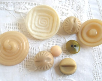 Vintage Buttons- Big and Beautiful Ivory Colored Buttons, Set of 8