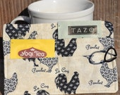 Tea Wallet French Hen Print