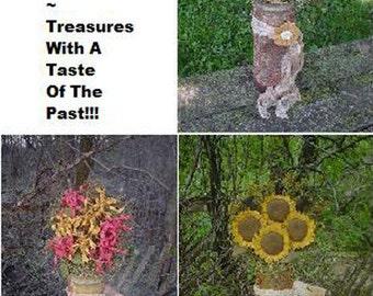 Primitive Flowers E Pattern Mums Sunflowers Yo-Yo Flowers - Primitive Folk Art Flowers and Quilt Vase Low & No-Sew Craft Pattern