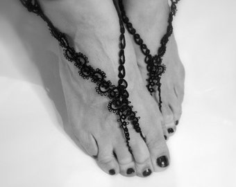 Barefoot sandals - POSITANO WAWES - hand tatted in italy - black handmade lace