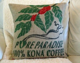 Burlap Pillow. Recycled Kona USA Coffee Bag. 18x18 Pillow Cover. Handmade in Hawaii.