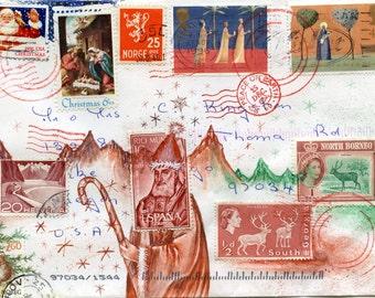 Santa Bishop Mail Art Postcard