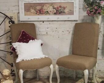 Painted Cottage Chic Shabby Farmhouse Parson Chair CHR46